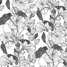 York Sure Strip Black Leaf Outline Removable Wallpaper -