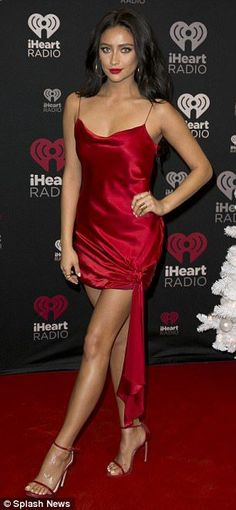 Dazzle: And Shay Mitchell channeled the holidays in red as Noah Cyrus sported a camouflage jacket and fleece leggings