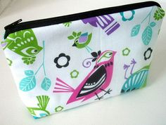 Bird Cosmetic Bag Large Padded Flat bottom zipper pouch by JPATPURSES,