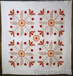 "Large Exciting 19th Century Antique Applique QUILT 86x84""Red Green Yellow www.Vintageblessings.com"