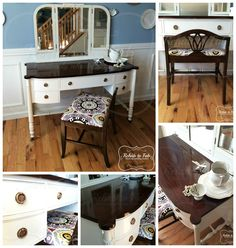 This antique vanity was rehabbed by Rehab to Fab. @generalfinishes products were used: Antique white milk paint, Java gel stain, Arm-R-Seal and High Performance top coat. Check out Rehab to Fab on FB for a description & use of the products. https://www.facebook.com/RehabtoFab