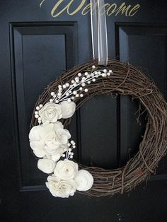 white flowers on twig wreath