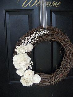 white flowers on twig wreath