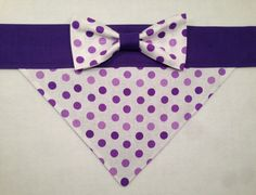 Dog Bandana  Purple Polka Dots with Bow by SpottedDogShop on Etsy, $9.95