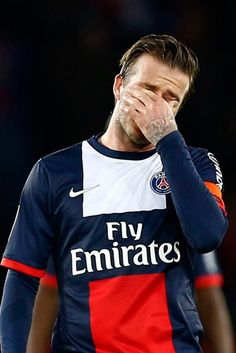 Victoria Beckham looked on as David Beckham broke down in tears during his final football game for PSG David Beckham Haircut, Paris Saint Germain Fc, Kun Aguero, Xavi Hernandez, Star David, Sports Stars, Celebrity Dads, Football Players, Shirts