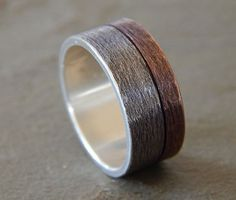 MOONLIGHT Silver & Copper 6-9mm // Men's Wedding Ring // Women's Wedding Ring…