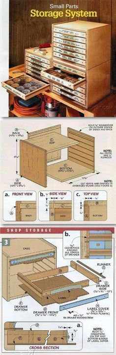 Small Parts Storage System Plans - Workshop Solutions Plans, Tips and Tricks | WoodArchivist.com #WoodworkingBench #woodworkingtips #woodworkinginfographic #woodcraftprojects