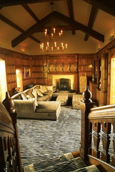 full height panelling with carved overmantel