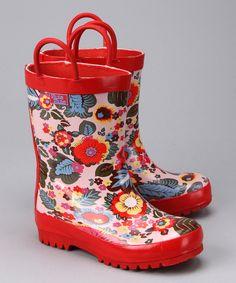 This Pluie Pluie Red Flower Rain Boot by Pluie Pluie is perfect! #zulilyfinds