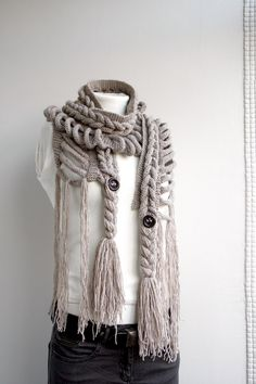 Milky Brown Wool  Scarf with Brown by denizgunes