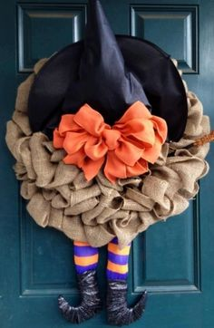 PRE ORDER Halloween Burlap Witch Wreath