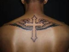 Cross Designs With Wings Coupled A Funky Script Look Great On Men