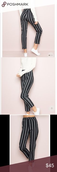 """Brandy Melville Black TILDEN PANTS 😍 FIRM PRICE!! FIRM PRICE. New with tag. One Size (fits Small/Medium) High-rise trouser pants in black and white stripes with a button and zipper front, elasticized waistband and a slit on the back hem.  Fabrics: 100% cotton Measurements: 10.5"""" rise, 26"""" inseam, 24"""" waist (stretch) Brandy Melville Pants Ankle & Cropped"""