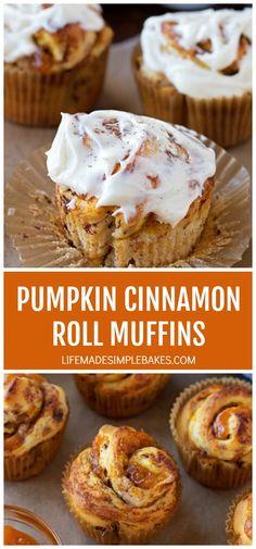 Cinnamon Roll Muffins, Pumpkin Cinnamon Rolls, Pumpkin Butter, Pumpkin Pie Muffins, Delicious Desserts, Yummy Food, Mini Desserts, Pumpkin French Toast, Breakfast Bake