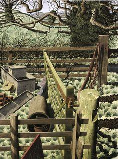 """Field Corner"" by Simon Palmer (ink, watercolour and gouache) Landscape Drawings, Landscape Paintings, Landscapes, Art Advisor, Magic Realism, Garden Park, Perspective Drawing, Contemporary Landscape, Illustration Art"