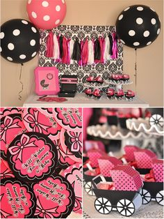 Bird's Party Blog: Pink and Black Glam Baby Shower: The mini paper prams