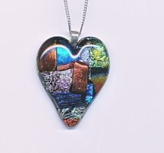 Fused Dichroic Glass Heart Pendant by Glassfuser on Etsy, $30.00