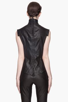 Visions of the Future: Gareth PUGH | Black Buffed Leather Blouse
