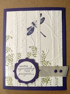 """By Cindy Fodor. """"Woodland"""" embossing folder. Stamps from """"Awesomely Artistic."""" Both by Stampin' Up. Stamp on the inside front of the folder; insert white cardstock; then dry emboss."""