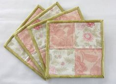 Quilted Mug Rugs, set of 4, patchwork block pattern, pink, pale green, off white