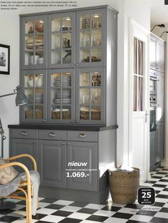 Ikea Lidingo Gray Cabinets - really like the glass door cabinets stacked on top
