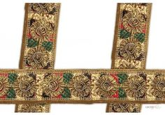 Trim Border Saree . This awesome design is of Saree Trim . Its product code is: 002125 , Its size is: 68 mm. Material used is 100% Polyester . This Saree Trim comes with Embroidery , Gota work decoration. As seen design pattern is Flower . Locally this lace is also known as Heavy Saree Border . This Trim Border Saree item have 2 colors available in this design. This lace can also be used in Saree Border etc.