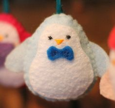 Felt Snowman Ornaments - Sugar Bee Crafts