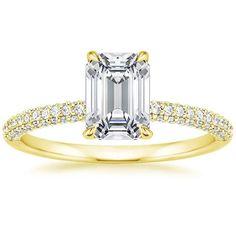 Emerald Cut Valencia Diamond Engagement Ring - 18K Yellow Gold