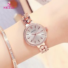 KEZZI Top Brand Women Watches Stainless Steel Wristwatches For Women Quartz Diamond Watches Silver Clocks Trendy Watches, Elegant Watches, Beautiful Watches, Cool Watches, Nixon Watches, Wrist Watches, Women's Dress Watches, Quartz Watch, Fashion Watches