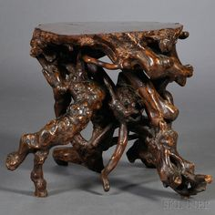 Gnarled Root Stand, China, with burled top, ht. 14 1/2, approximate dia. 14 in.