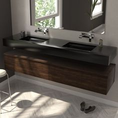 The Alabama wall-mounted double sink in Corian® creates a modern and minimalist look in your bathroom. Shown here in Corian's Deep Nocturne colour. Choose from a huge range of colours and customisation options on Riluxa.com. #bathroomsinks #corian #bathroomremodel #doublesink #blacksink #modernbathroom Corian Sink, Countertop Basin, Dupont Corian, Alabama, Solid Surface, Minimalist Bathroom, Modern Bathroom, Bathroom Ideas, Cabinet Furniture