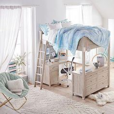 Find teen bunk beds and loft bunk beds at Pottery Barn Teen to make the most of your room. Save space when you sleep and study all in one place with a loft bed. Room Design, Small Room Design, Bedroom Design, Bedroom Diy, Loft Bed, Chic Bedroom, Shabby Chic Bedrooms, Bunk Bed Designs, Dream Rooms