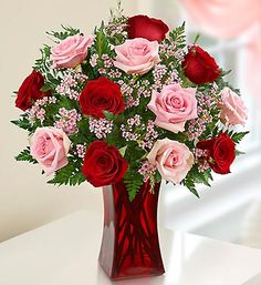 Shades of Pink and Red™ Premium Long Stem Roses- Gorgeous bouquet of premium long-stem pink and red roses, accented by fresh waxflower Valentine Flower Arrangements, Valentines Flowers, Mothers Day Flowers, Beautiful Flower Arrangements, Floral Arrangements, Valentine Bouquet, Gift Flowers, Amazing Flowers, Beautiful Roses