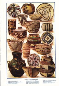 1909 Native American Baskets Print  Vintage Antique by Holcroft