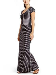 cap sleeve maxi dress with a flattering asymmetrical waist and super-soft fabric that has amazing drape.
