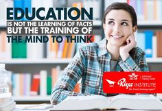 """"""" Education is not learning of facts but the training of the mind to think """". Riya Institute is here to help you reach on top. Join us. To know more ring us on +91 9562700121 or visit our website http://www.riyainstitute.com/"""