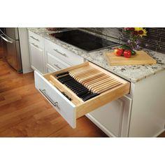 Kitchen Drawer Organization, Kitchen Storage Solutions, Kitchen Cabinet Storage, Custom Kitchen Cabinets, Custom Kitchens, Kitchen Cabinet Design, Under Cabinet Knife Storage, Cool Kitchens, Ikea Kitchen Drawers
