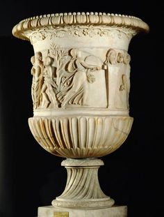 vessel/   Dionysus, satyrs and maenads  Roman, Empire  First - 3rd Century AD,  Marble base and edge .