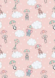 Aqua Blue Baby Fabric, Lewis & Irene, Welcome To The World Parachuting Baby Animals Quilt Fabric, Baby Quilt Fabric, Cotton Safari Animals, Baby Animals, Cute Wallpapers, Wallpaper Backgrounds, Dressmaking Fabric, Baby Fabric, Cotton Quilts, Cotton Fabric, Backgrounds