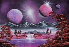 Purple world. Spacepainting, spraypainting art - Ivan Perončík