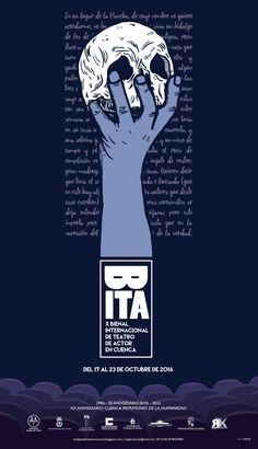 """Cartel de la X edición de la """"Bienal Internacional de Teatro de Actor"""" que se celebra en la ciudad de Cuenca (Spain) los días 17 al 23 de Octubre de 2016. Videos, Movies, Movie Posters, October 23, Theater, City, Poster, Creativity, Illustrations"""