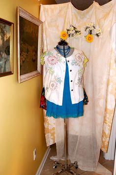 plus size free ship XL-2X white denim vest embroidery vintage hankie refashioned restyled altered upcycled boho romantic by RestyledBohoPlus on Etsy https://www.etsy.com/listing/235674397/plus-size-free-ship-xl-2x-white-denim