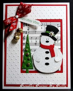 Cute Snowman card...love the cuddlebug background!