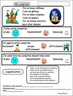 Idée pour évaluer la mémorisation, le langage, l'appréciation de l'enfant et...donner un retour aux parents....