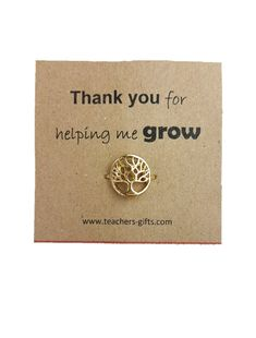 'Thank you for helping me GROW' Tree of Life Rings