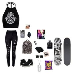 """""""blah"""" by pandabearcc ❤ liked on Polyvore featuring WithChic, Vans, Ray-Ban, Betsey Johnson, Darkstar, Chanel and True Rocks"""