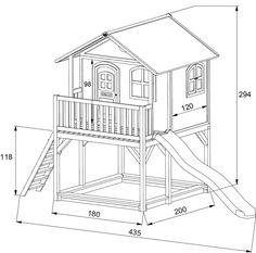 Holz-Kinderspielhaus auf Stelzen Sandkasten Garten 173x113cm Haus-Innenmaß | Kinderspielgeräte für den Garten