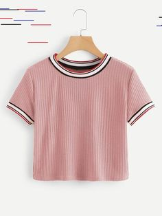 Colorful Striped Cuff Tee - Colorful Striped Cuff TeeFor Women-romwe Source by . - Colorful Striped Cuff Tee – Colorful Striped Cuff TeeFor Women-romwe Source by lailakirschbaum - Teen Fashion Outfits, Fashion Mode, Outfits For Teens, Girl Fashion, Summer Outfits, Crop Top Outfits, Cute Casual Outfits, Swag Outfits, Vetement Fashion