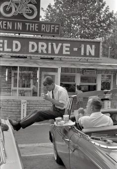 the-rolling-gi: Chilling outside a Drive-In diner, 1950s.                                                                                                                                                                                 More