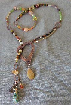 Rustic & Refined- Handcrafted Copper Heart Lariat Necklace w/ Scarab, Citrine, Peridot, Tourmaline, Smoky quartz, more